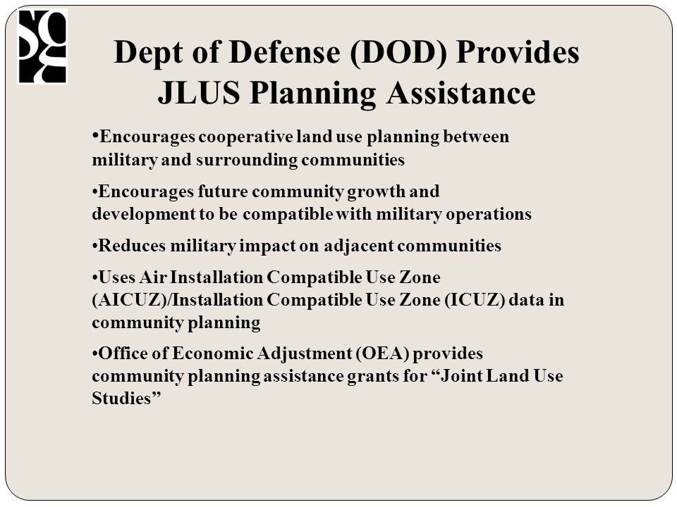 Timeline Joint Land Use Study 2008 - 2009 JULAUGSEPOCTNOVDECJANFEBMARAPRMAYJUN Administration & Management Inventory/Data Analysis of Current Conflicts Analysis of Future Conflicts Public Outreach Recommendations Continue Efforts Project Start Data Collection Final Report