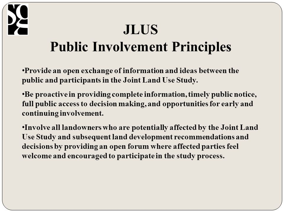JLUS Potential Recommendations Note: Individual governments will follow their own process for updating these land development tools on a voluntary basis.