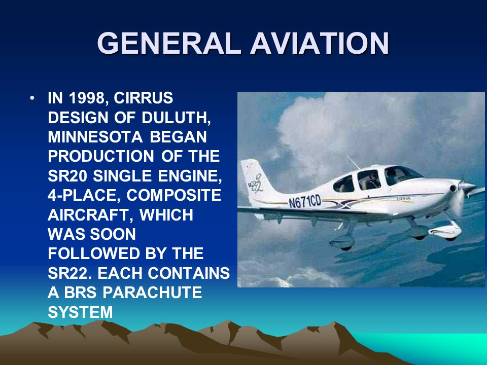 GENERAL AVIATION IN 1998, CIRRUS DESIGN OF DULUTH, MINNESOTA BEGAN PRODUCTION OF THE SR20 SINGLE ENGINE, 4-PLACE, COMPOSITE AIRCRAFT, WHICH WAS SOON F