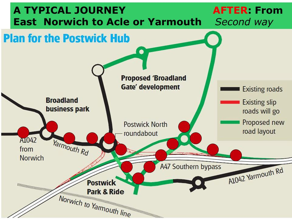 A TYPICAL JOURNEY AFTER: From East Norwich to Acle or Yarmouth Second way
