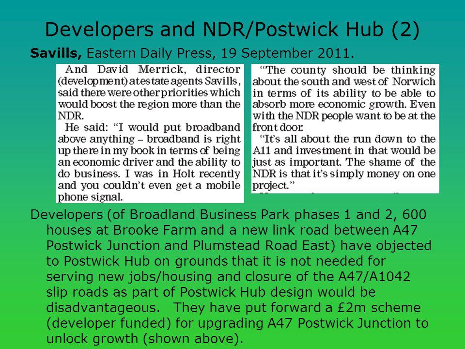 Developers and NDR/Postwick Hub (2) Savills, Eastern Daily Press, 19 September 2011.