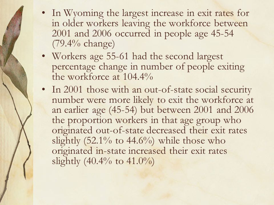 In Wyoming the largest increase in exit rates for in older workers leaving the workforce between 2001 and 2006 occurred in people age 45-54 (79.4% change) Workers age 55-61 had the second largest percentage change in number of people exiting the workforce at 104.4% In 2001 those with an out-of-state social security number were more likely to exit the workforce at an earlier age (45-54) but between 2001 and 2006 the proportion workers in that age group who originated out-of-state decreased their exit rates slightly (52.1% to 44.6%) while those who originated in-state increased their exit rates slightly (40.4% to 41.0%)
