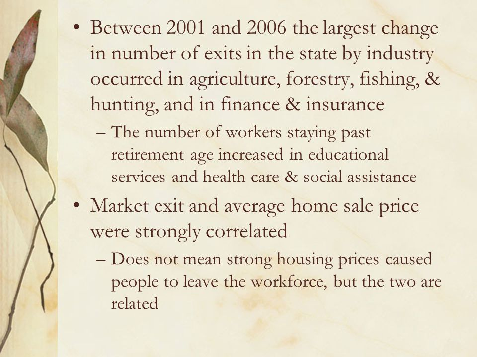 Between 2001 and 2006 the largest change in number of exits in the state by industry occurred in agriculture, forestry, fishing, & hunting, and in fin