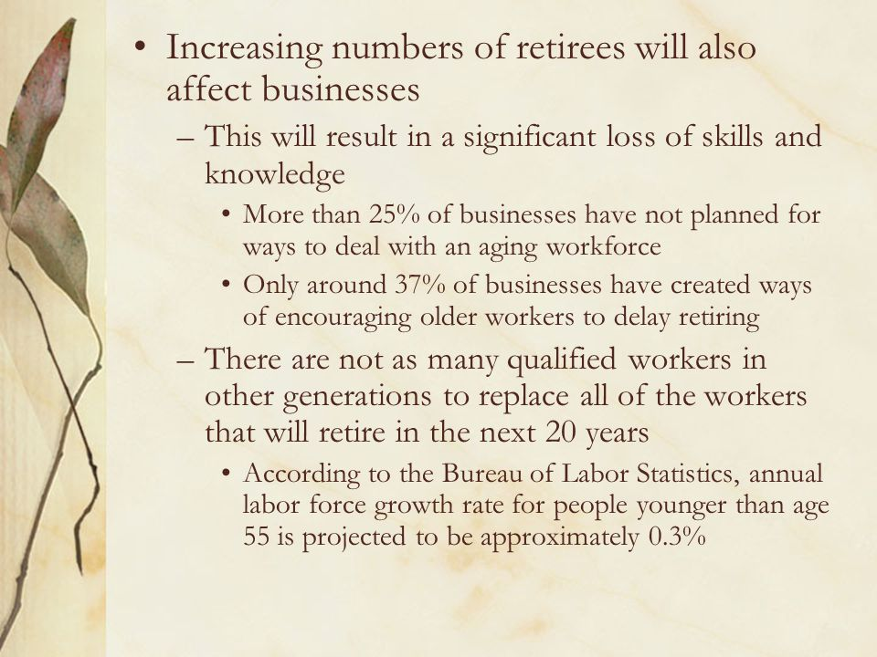 Increasing numbers of retirees will also affect businesses –This will result in a significant loss of skills and knowledge More than 25% of businesses