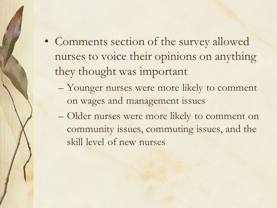 Comments section of the survey allowed nurses to voice their opinions on anything they thought was important –Younger nurses were more likely to comment on wages and management issues –Older nurses were more likely to comment on community issues, commuting issues, and the skill level of new nurses