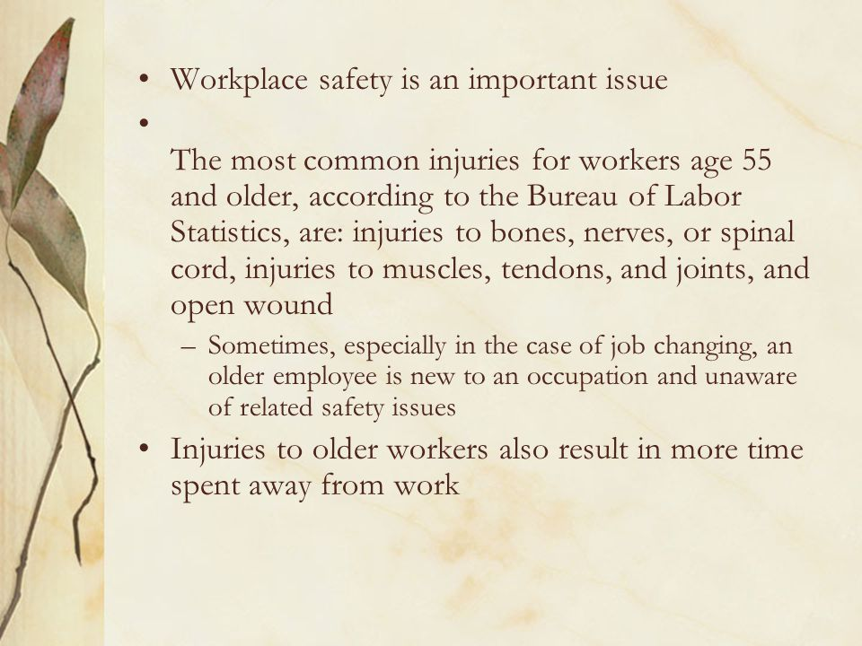 Workplace safety is an important issue The most common injuries for workers age 55 and older, according to the Bureau of Labor Statistics, are: injuries to bones, nerves, or spinal cord, injuries to muscles, tendons, and joints, and open wound –Sometimes, especially in the case of job changing, an older employee is new to an occupation and unaware of related safety issues Injuries to older workers also result in more time spent away from work
