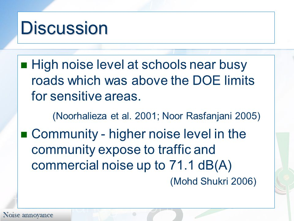 Noise annoyance Discussion High noise level at schools near busy roads which was above the DOE limits for sensitive areas.