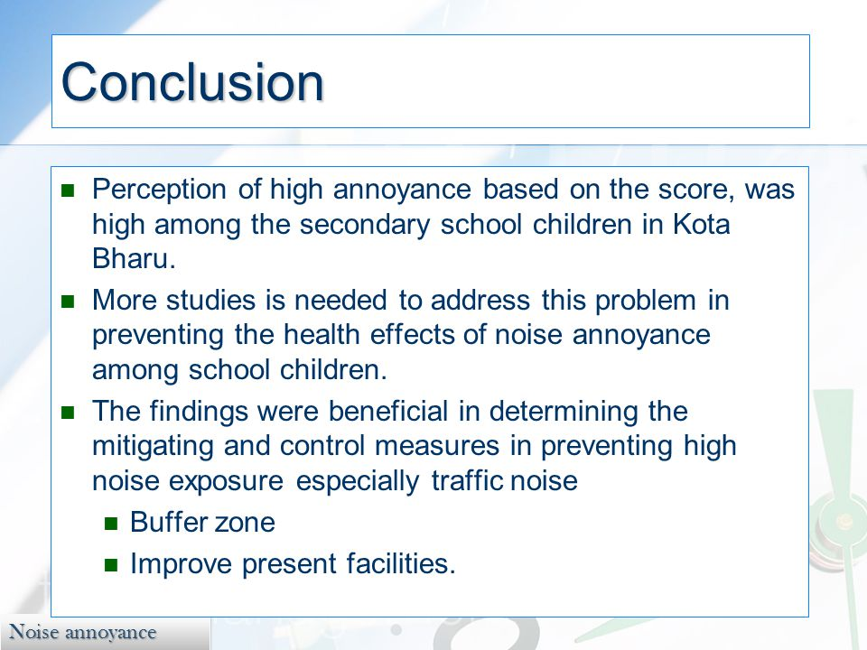 Noise annoyance Conclusion Perception of high annoyance based on the score, was high among the secondary school children in Kota Bharu.