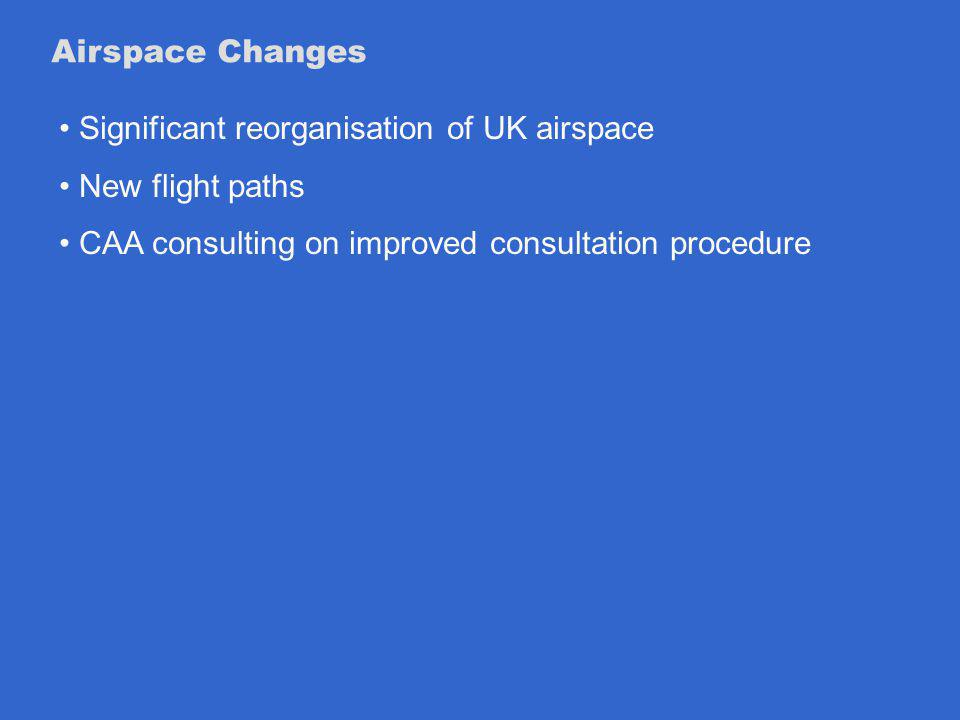 Airspace Changes Significant reorganisation of UK airspace New flight paths CAA consulting on improved consultation procedure