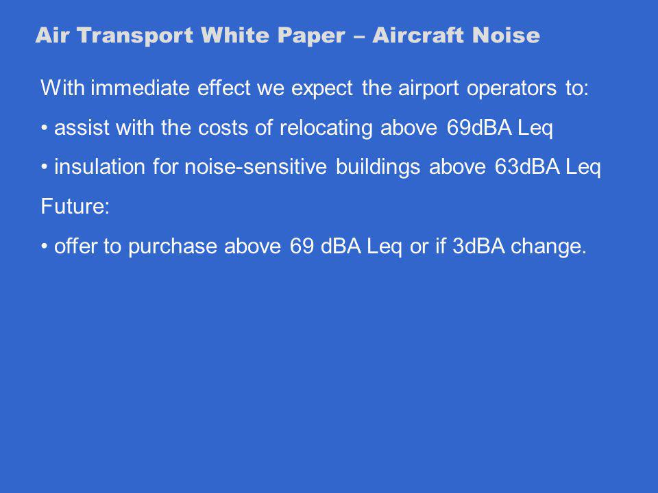 Air Transport White Paper – Aircraft Noise With immediate effect we expect the airport operators to: assist with the costs of relocating above 69dBA Leq insulation for noise-sensitive buildings above 63dBA Leq Future: offer to purchase above 69 dBA Leq or if 3dBA change.
