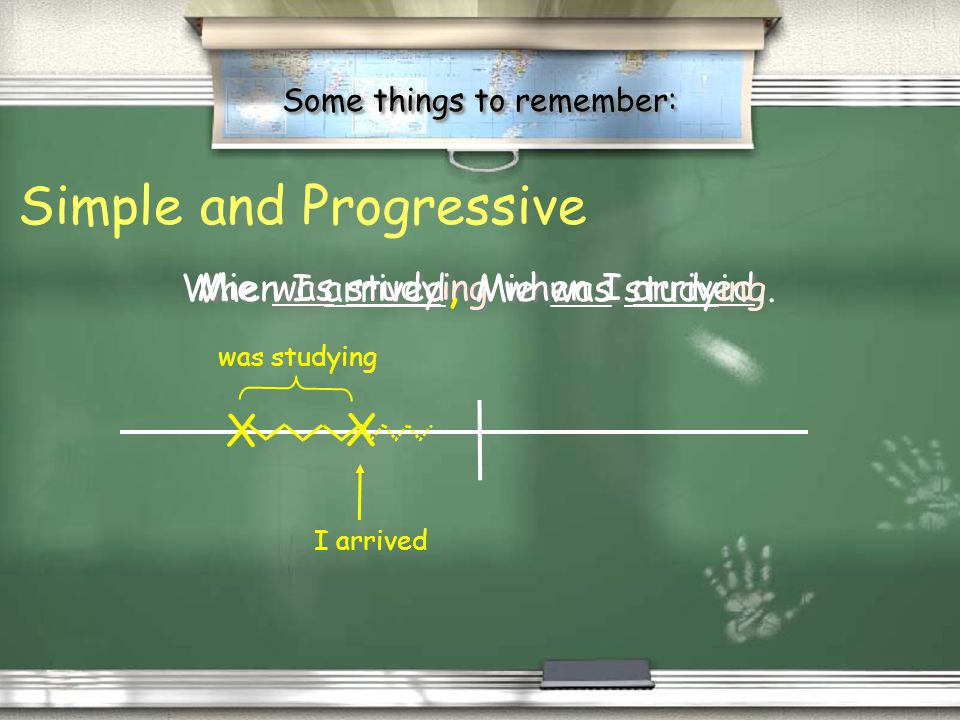 Some things to remember: / Past progressive is used to show interrupted past. / Progressive means in progress. / was/were + V-ing / Past progressive i
