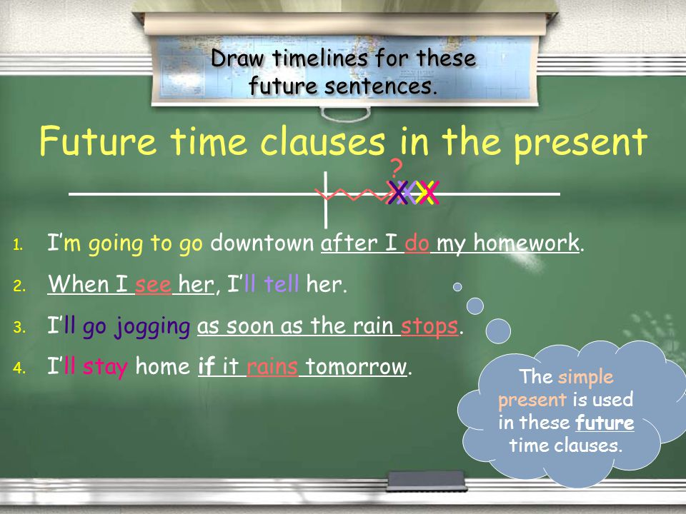 Some things to remember: Future time clauses in the present The simple present is used in future time clauses. Before I go downtown, Im going to do my