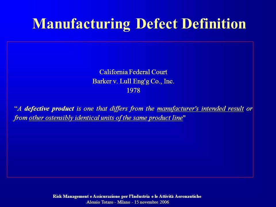 Risk Management e Assicurazione per lIndustria e le Attività Aeronautiche Alessio Totaro - Milano - 15 novembre 2006 California Federal Court Barker v.