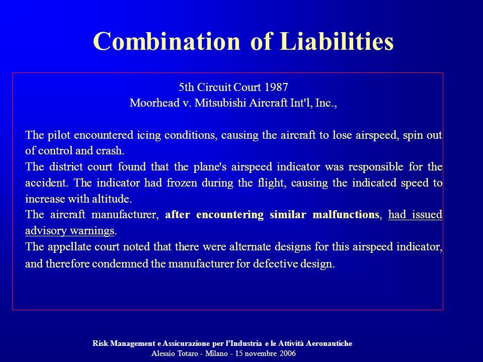 Risk Management e Assicurazione per lIndustria e le Attività Aeronautiche Alessio Totaro - Milano - 15 novembre 2006 5th Circuit Court 1987 Moorhead v.