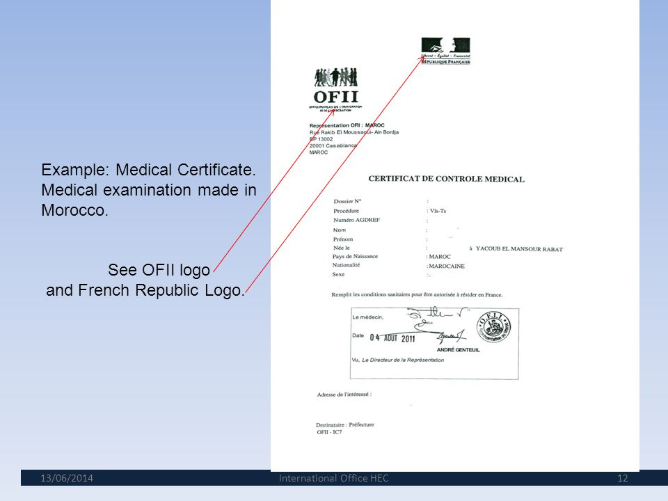 13/06/201411 6th step: The validation of your VLS/TS and the medical examination.