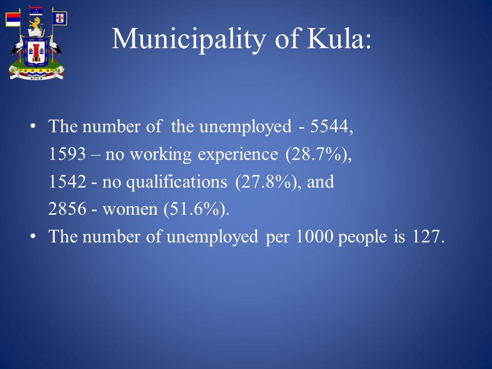 Municipality of Kula: The number of the unemployed , 1593 – no working experience (28.7%), no qualifications (27.8%), and women (51.6%).