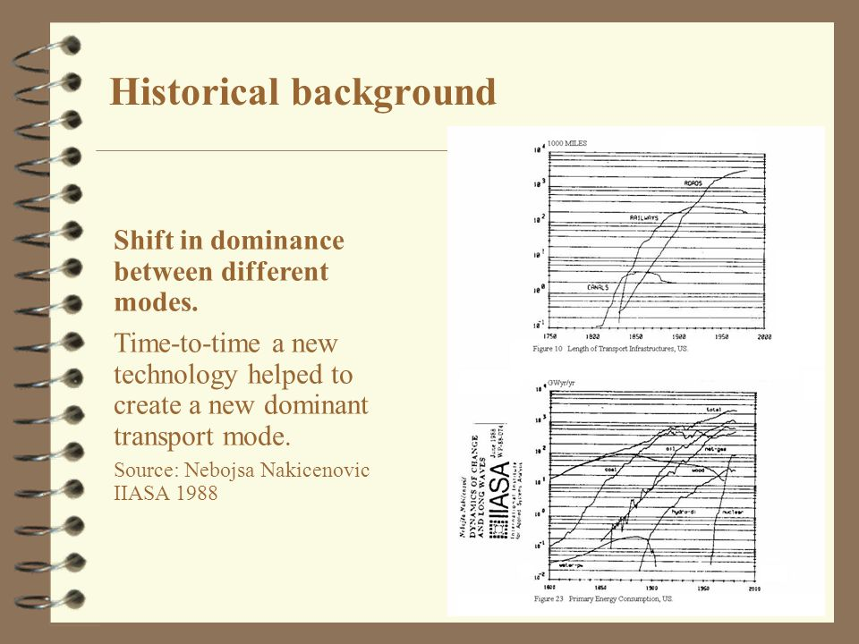 8 Historical background Shift in dominance between different modes. Time-to-time a new technology helped to create a new dominant transport mode. Sour