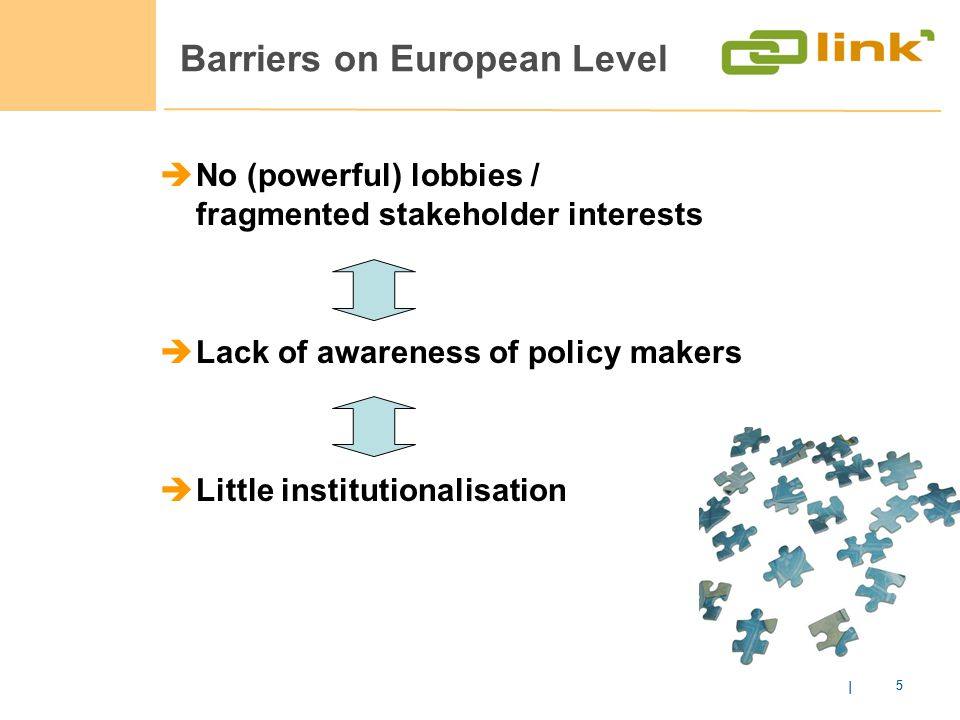 Barriers on European Level | 5 No (powerful) lobbies / fragmented stakeholder interests Lack of awareness of policy makers Little institutionalisation | 5