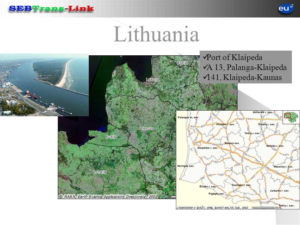 Lithuania Port of Klaipeda A 13, Palanga-Klaipeda 141, Klaipeda-Kaunas