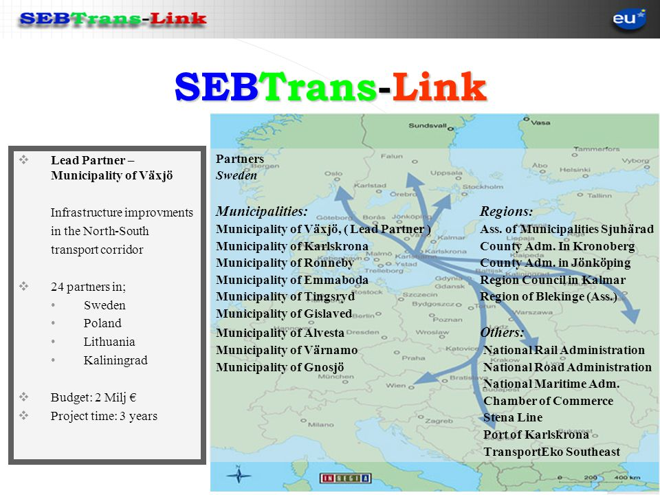 SEBTrans-Link Lead Partner – Municipality of Växjö Infrastructure improvments in the North-South transport corridor 24 partners in; Sweden Poland Lithuania Kaliningrad Budget: 2 Milj Project time: 3 years Partners Sweden Municipalities:Regions : Municipality of Växjö, ( Lead Partner )Ass.