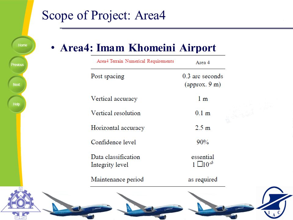 Home Previous Next Help Scope of Project: Area4 Area4: Imam Khomeini Airport Area4 Terrain Numerical Requirements