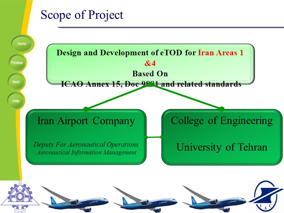 Home Previous Next Help Scope of Project Design and Development of eTOD for Iran Areas 1 &4 Based On ICAO Annex 15, Doc 9881 and related standards Ira