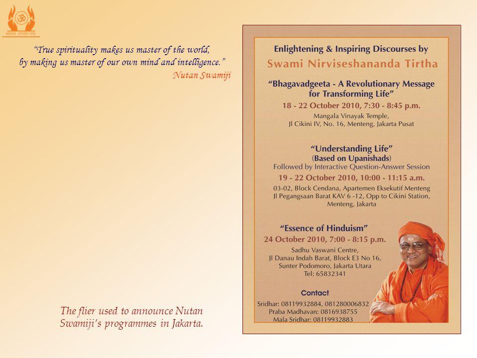 The flier used to announce Nutan Swamijis programmes in Jakarta.