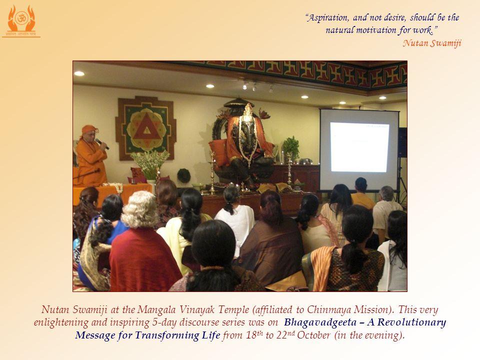 Nutan Swamiji at the Mangala Vinayak Temple (affiliated to Chinmaya Mission).