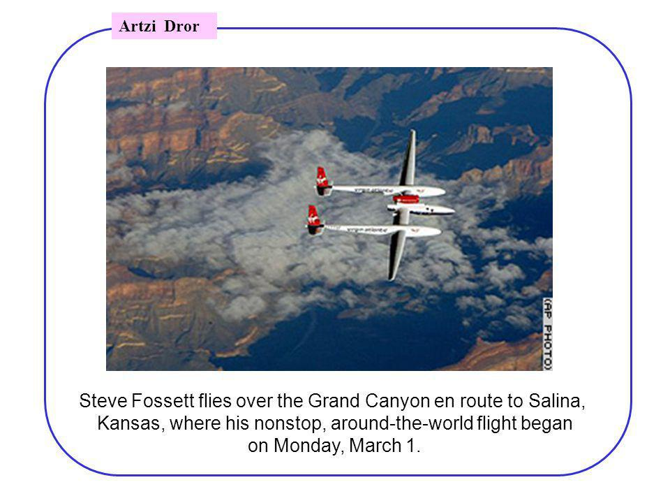 Steve Fossett flies over the Grand Canyon en route to Salina, Kansas, where his nonstop, around-the-world flight began on Monday, March 1.