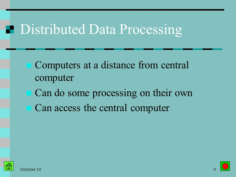 October 188 Centralized Data Processing All processing, hardware, software in one central location Inefficient Inconvenient