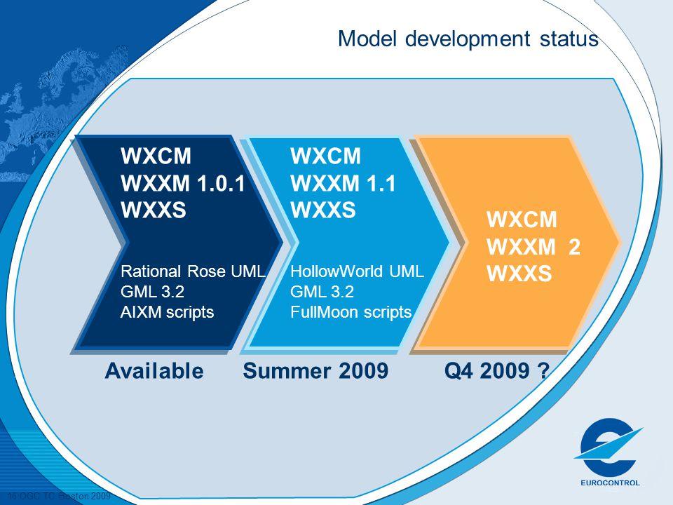 16 OGC TC Boston 2009 Model development status WXCM WXXM 1.0.1 WXXS Rational Rose UML GML 3.2 AIXM scripts WXCM WXXM 1.1 WXXS HollowWorld UML GML 3.2 FullMoon scripts WXCM WXXM 2 WXXS AvailableQ4 2009 ?Summer 2009