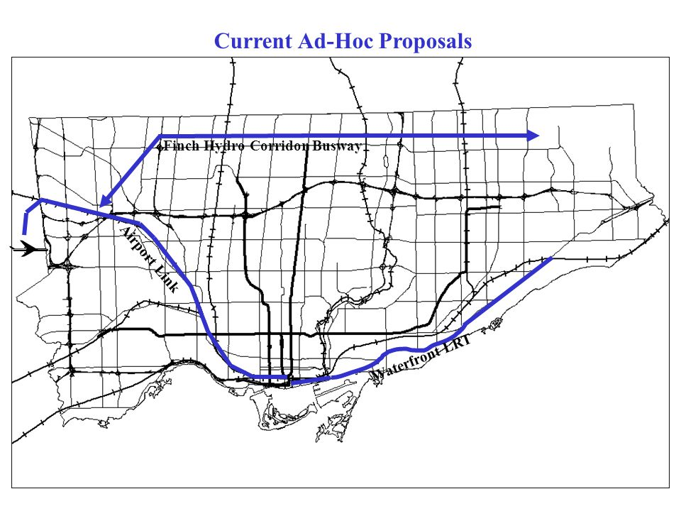 Airport Link Waterfront LRT Finch Hydro Corridor Busway Current Ad-Hoc Proposals