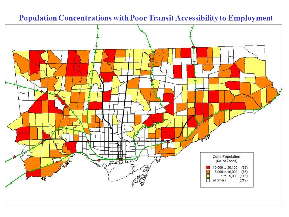 Population Concentrations with Poor Transit Accessibility to Employment