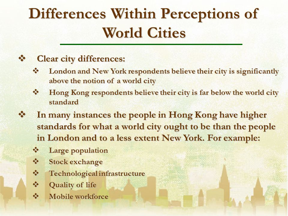 Differences Within Perceptions of World Cities Clear city differences: Clear city differences: London and New York respondents believe their city is significantly above the notion of a world city London and New York respondents believe their city is significantly above the notion of a world city Hong Kong respondents believe their city is far below the world city standard Hong Kong respondents believe their city is far below the world city standard In many instances the people in Hong Kong have higher standards for what a world city ought to be than the people in London and to a less extent New York.