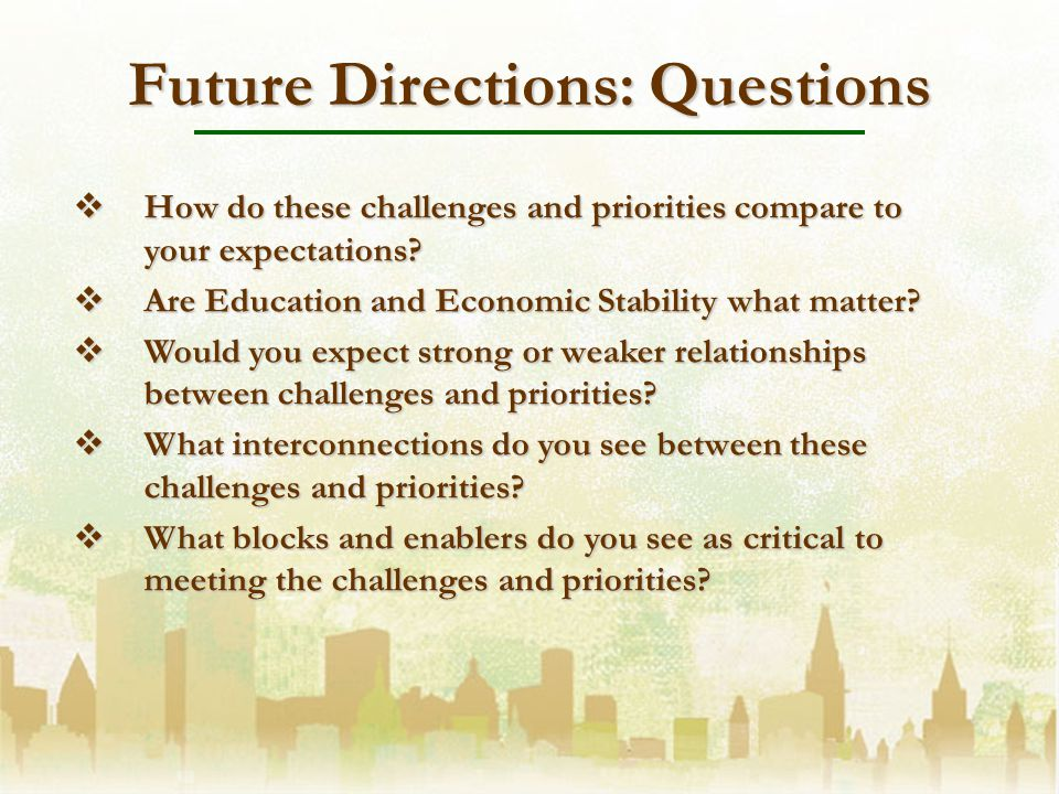 Future Directions: Questions How do these challenges and priorities compare to your expectations.