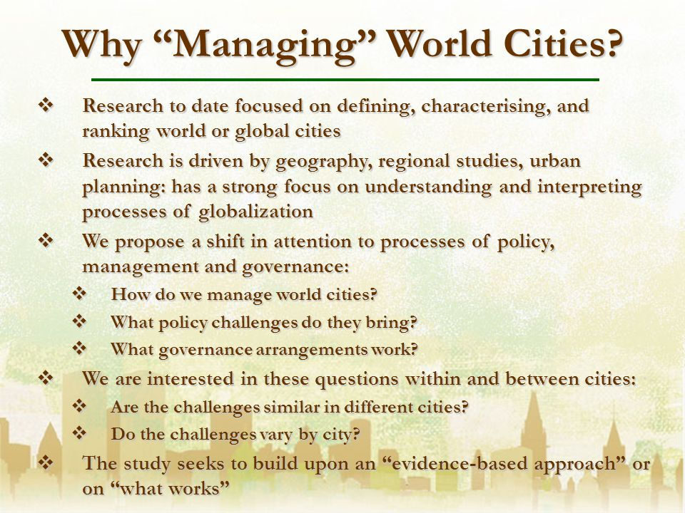 Why Managing World Cities.