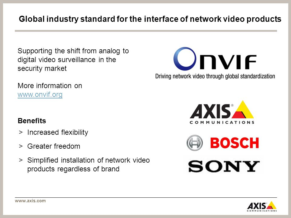 www.axis.com Global industry standard for the interface of network video products Supporting the shift from analog to digital video surveillance in the security market More information on www.onvif.org www.onvif.org Benefits >Increased flexibility >Greater freedom >Simplified installation of network video products regardless of brand