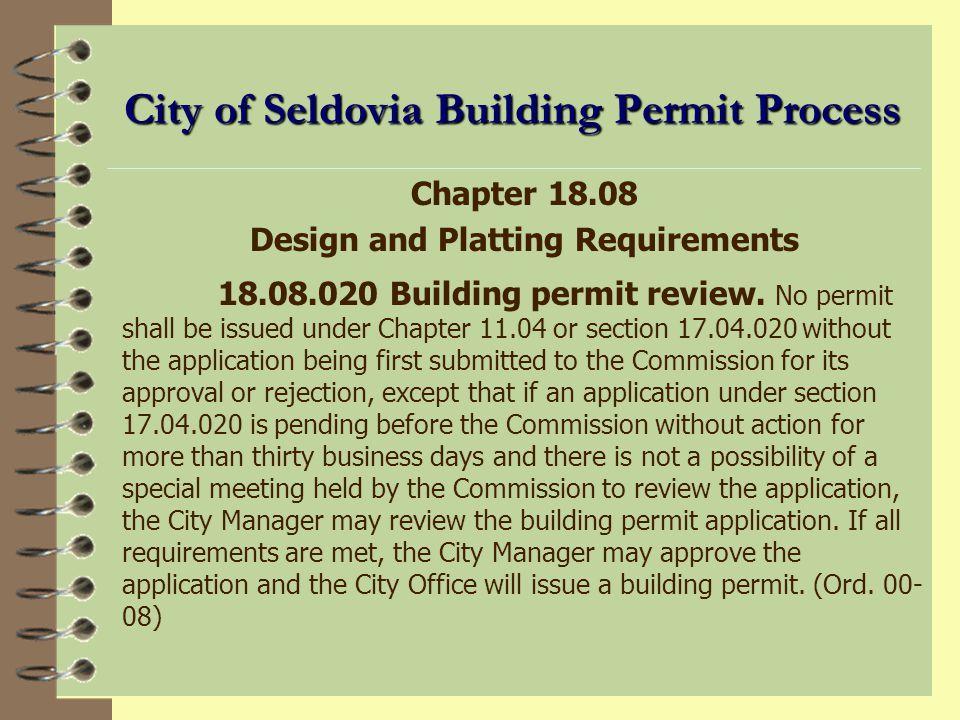 City of Seldovia Building Permit Process Chapter 17.04 Building Code 17.04.020 Building Permits.