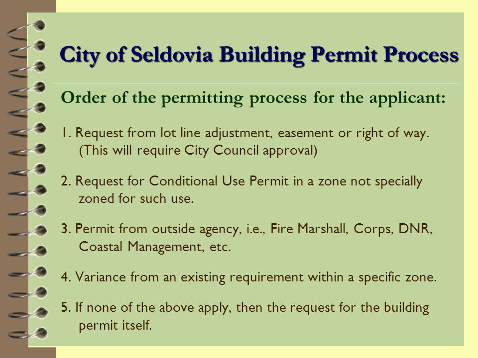 Other City Regulations Applicant Must Meet Title 18 establishes City Zoning Codes: Regulate location and use of all buildings within the city including : setbacks from lot lines building height visibility parking other requirements
