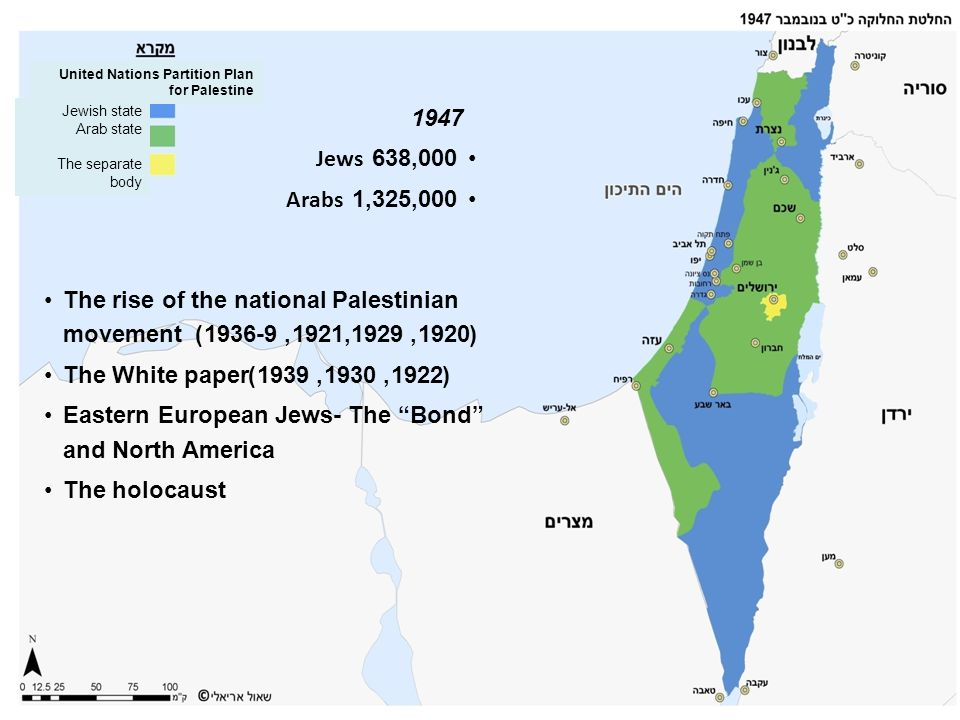 The rise of the national Palestinian movement (1920, 1921,1929, 1936-9) The White paper(1922, 1930, 1939) Eastern European Jews- The Bond and North Am