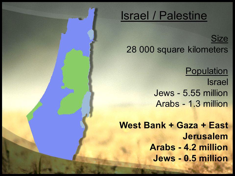 Israel / Palestine Size 28 000 square kilometers Population Israel Jews - 5.55 million Arabs - 1.3 million West Bank + Gaza + East Jerusalem Arabs - 4