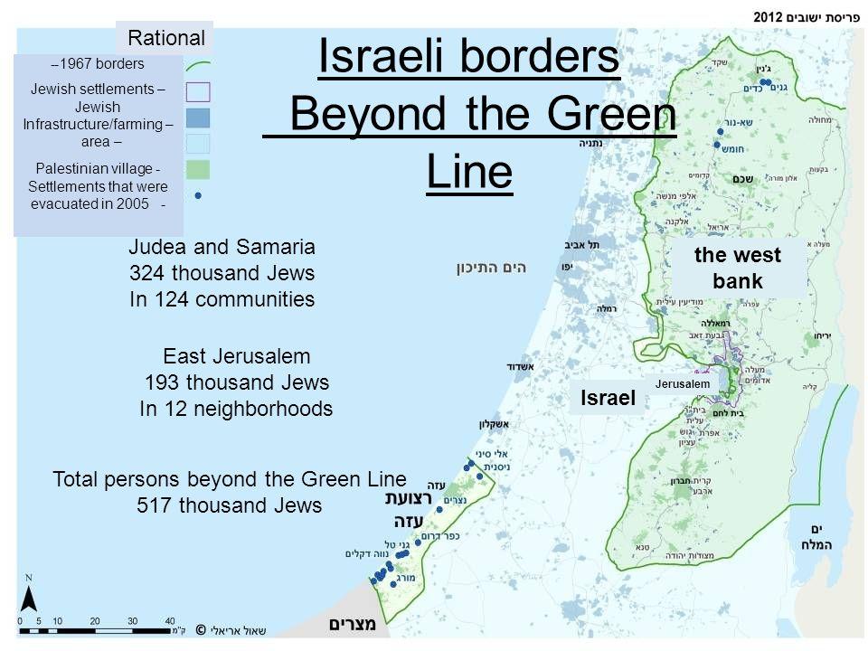 Israeli borders Beyond the Green Line Judea and Samaria 324 thousand Jews In 124 communities East Jerusalem 193 thousand Jews In 12 neighborhoods Tota