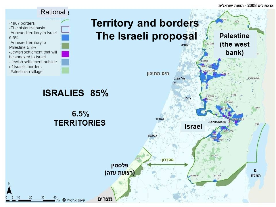 Territory and borders The Israeli proposal 85% ISRALIES 6.5% TERRITORIES -1967 borders -The historical basin -Annexed territory to Israel 6.5% -Annexe