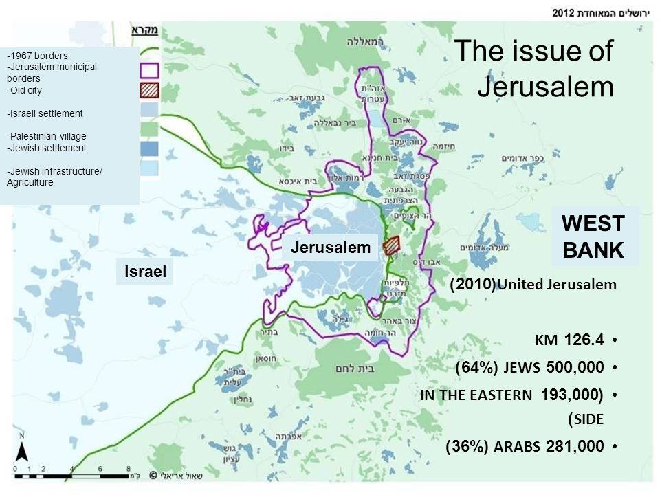 United Jerusalem(2010) 126.4 KM 500,000 JEWS (64%) (193,000 IN THE EASTERN SIDE) 281,000 ARABS (36%) The issue of Jerusalem -1967 borders -Jerusalem m