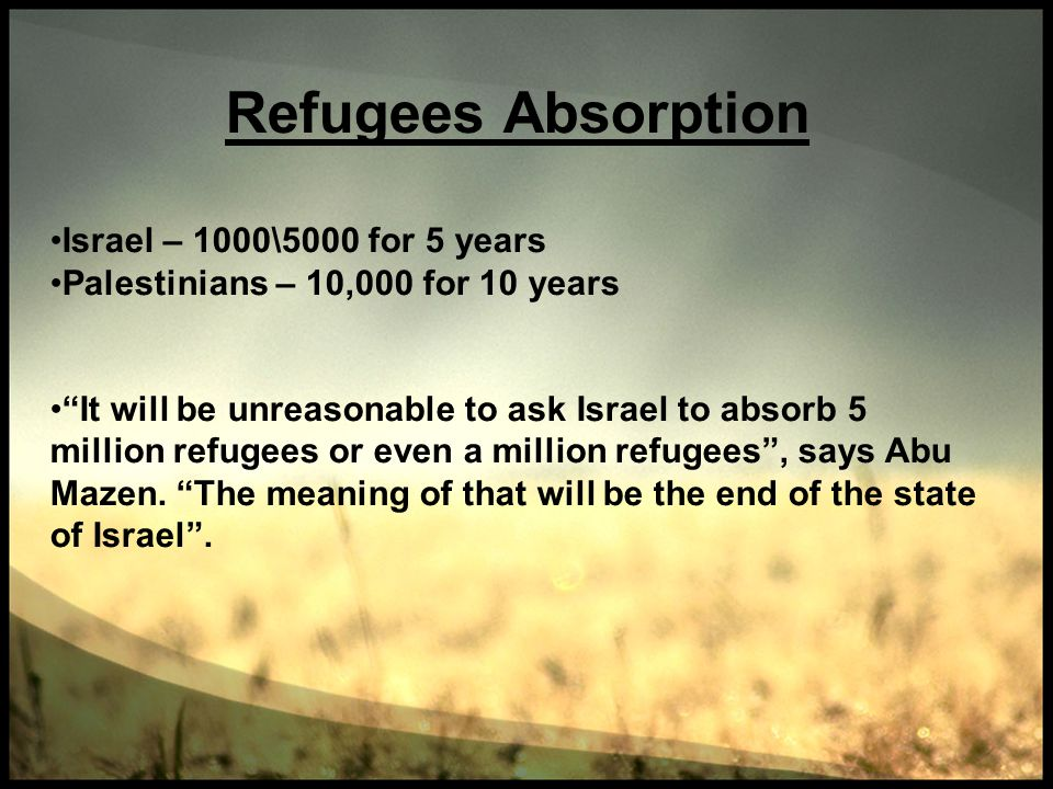Refugees Absorption Israel – 1000\5000 for 5 years Palestinians – 10,000 for 10 years It will be unreasonable to ask Israel to absorb 5 million refuge