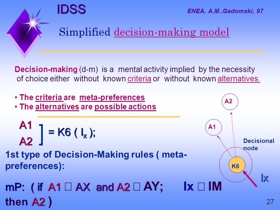 Decision-making (d-m) is a mental activity implied by the necessity of choice either without known criteria or without known alternatives.