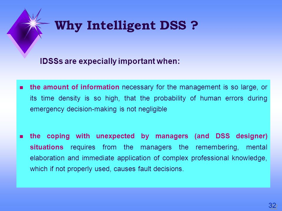 Why Intelligent DSS .