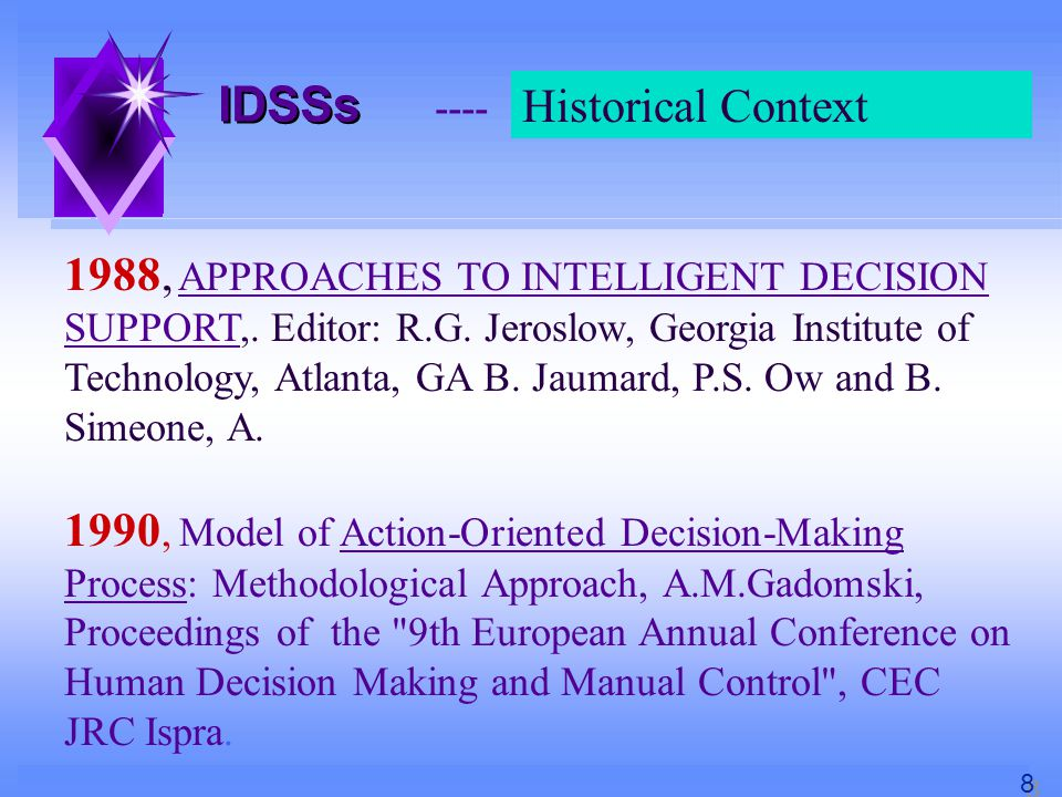 IDSSs ---- First Conclusions Historical Context K.