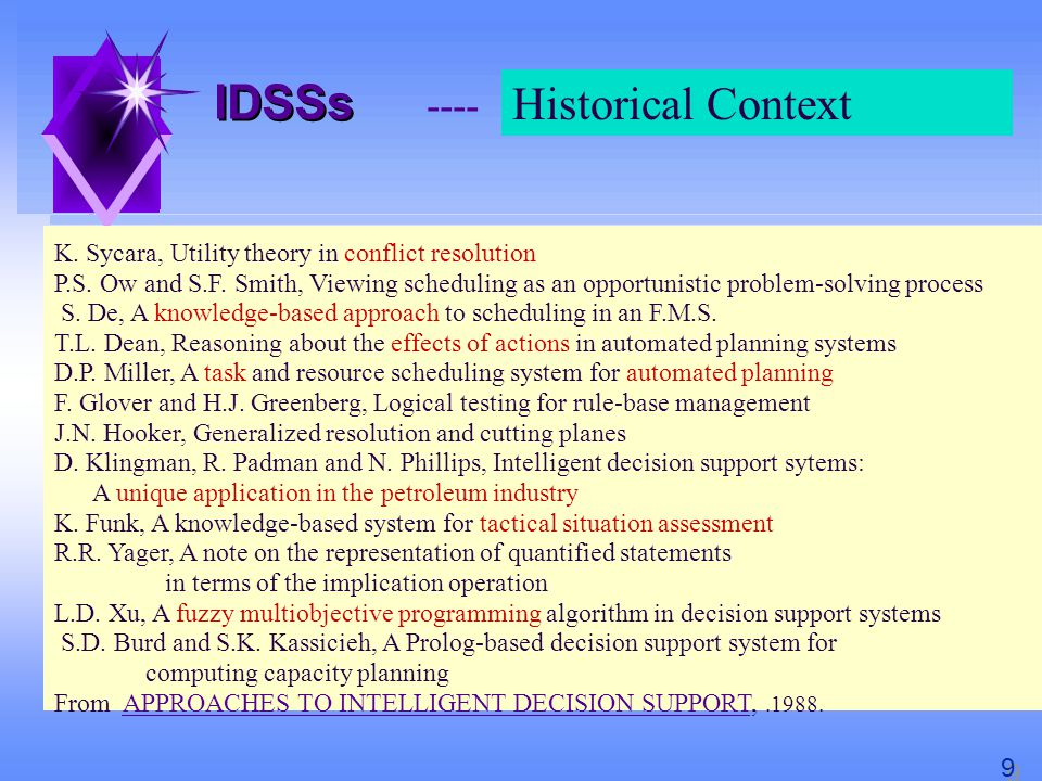 IDSS IDSS ENEA, ERG-ING-TISGI, 97 Industrial Emergency Management decision-making model Passive DSS and active DSS, i.e.