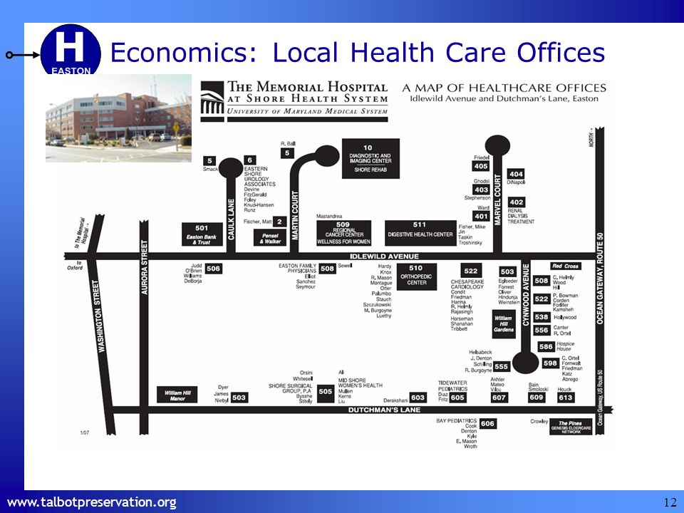 12 Easton Memorial is the largest Easton Utilities Customer $2,500,000 Annual utility bill Loss of Easton Memorial means higher rates for us Economics: Local Health Care Offices